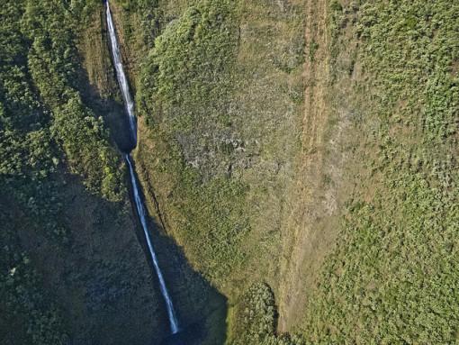 waterfall along hamakua coast