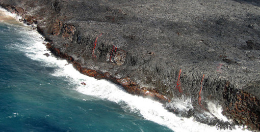 Lava flow to the ocean