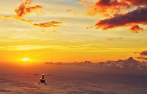 helicopter tour sunset